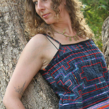 Hmong Womens Cami Top Strappy Tank Top Summer Camisole Swing Top Embroidery & Indigo Batik