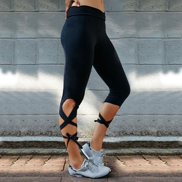 Hot Sale Cross Strap Slim Yoga Beach Pants Sportswear [10320545542]