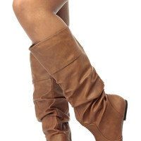 Cognac Faux Leather Calf Length Slouch Boots