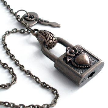 Chained and Locked Heart - Steampunk Padlock Pendant Necklace Handmade Jewelry