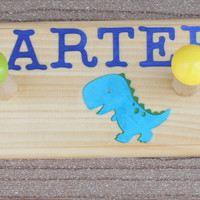 Personalized Coat Hanger . Peg Rack . Wall Hooks .  Dinosaurs . DINOS . Carter
