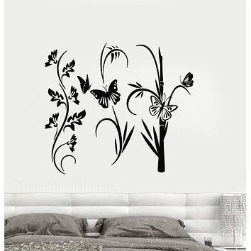 Vinyl Decal Floral Decor Reed Flower Butterfly Wall Stickers Mural Unique Gift (ig2779)