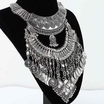 Gypsy Coin Necklace Silver Plate Bib Bohemian Statement Piece Be Festival Fantastic