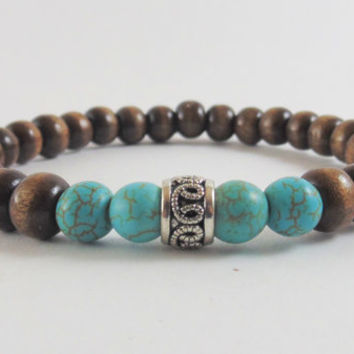 Men's wood bracelet, Men beaded bracelet, Men Turquoise, Stretch bracelet , Surfer Style, Free Shipping