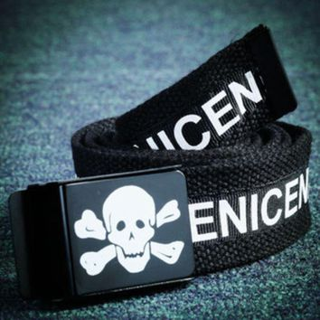 DCCKR2 Skull Lace neutral English letters printed leather belt