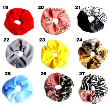 CHOOSE 3 Ponytail Holder, Silk Ponytail Cuff, Colorful Scrunchy, Hair Accessories, Pony Tail Holder, Hair Wrap, Hair Ties, Ponytail Wrap,