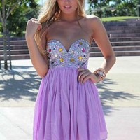 Purple Strapless Dress with Sequin&Jewel Embellished Top