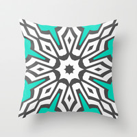 Mod Aqua Throw Pillow by Abstracts by Josrick