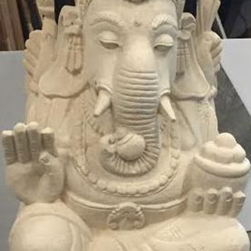 Hand Carved Ganesha Stone Statue