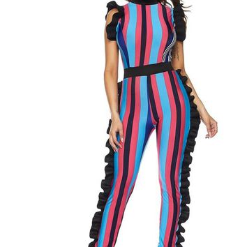 Sophia Multi Color Ruffle Outline Jumpsuit