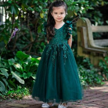 Ariana Emerald Green Petal Sleeve Satin & Lace Dress Gown