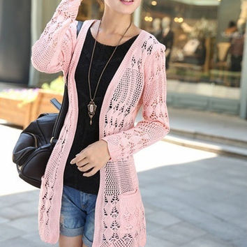 Super cute Loose Sweater coat fashion women pullovers long sleeve cardigans clothes — one size = 1920525956