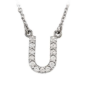1/8 Cttw G-H, I1 Diamond initial Necklace in 14k White Gold, Letter U
