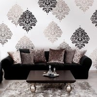 Wall Stencil Damask Kerry LG Reusable by CuttingEdgeStencils
