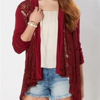 Burgundy Lace Cardigan