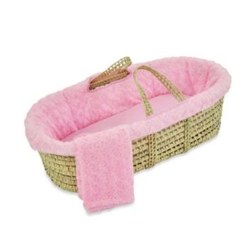 Tadpoles Twisted Fur Moses Basket Set in Pink