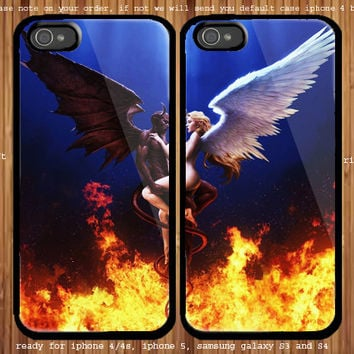 Angel And Devil for couple case iphone 4/4s, iphone 5 and samsung Galaxy S3, samsung Galaxy S4