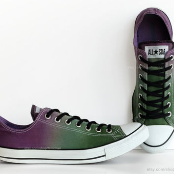Purple, green ombré dip dye Converse, All Stars, low tops, upcycled sneakers, transformed vintage shoes, EU 45 (UK 11, Mens 11, US Wo's 13)