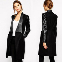 PU Patchwork Lapel Long Sleeves Knee-length Coats