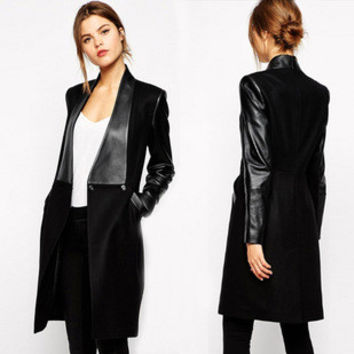 2016 Women Slim Splicing PU Skin Woolen Coat