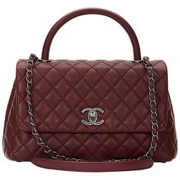2016 Chanel Burgundy Quilted Caviar Leather Small Coco Handle