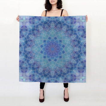 Blue and Turquoise Mosaic - 100% Silk Scarf with original Printed Artwork, Silk Habotai or Charmeuse, Accessories, Shawl, Scarf, Gift