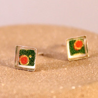 Sterling Silver Origami Paper Square Stud Earrings with Resin- Green, Red and Gold