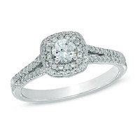 5/8 CT. T.W. Diamond Double Cushion Frame Engagement Ring in 14K White Gold