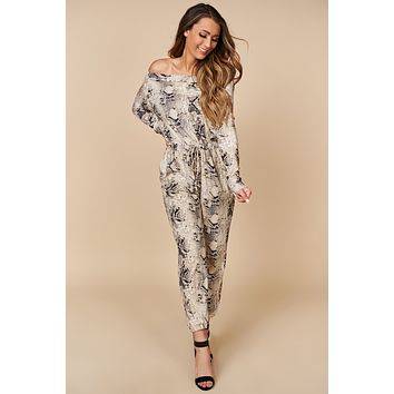 Inner Pride Off The Shoulders Jumpsuit  (Taupe)