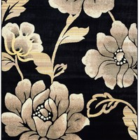 Rizzy Home Bay Side BS3588 Black Floral Area Rug
