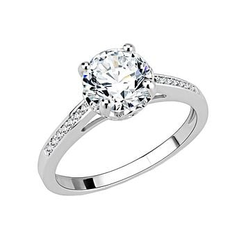 Beautiful Devotion - Women's Rhodium Plated Brass CZ Solitaire Ring