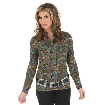 Wrangler Women's Rock 47 One Point Yoke and Triple Needle Stitching Allover Printed Shirt Olive/Turq