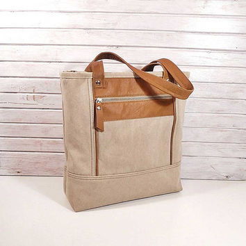 Canvas unique handbag, Sport bag, Messenger bag, Canvas shoulder bag, beige tote bag, Large leather bag, daily bag, natural cotton handbag