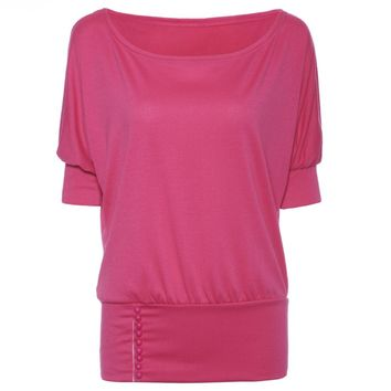 Casual Scoop Neck Half Sleeves Solid Color Single Breasted T-Shirt For Women