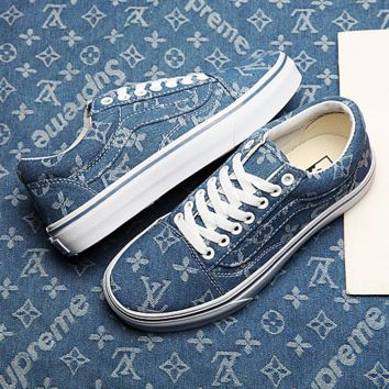 Vans Supreme Louis Vuitton OLD Skool Denim Low Top Sneaker
