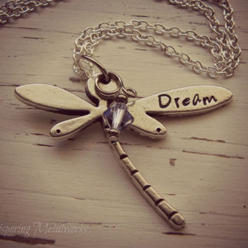DREAM dragonfly metal stamped necklace - pewter- you choose crystal color - with silver plated chain
