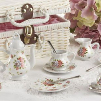 Childrens Porcelain Girls Tea Set- Dainty Sue Wicker Style Basket