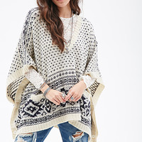 FOREVER 21 Diamond Pattern Poncho Cream/Navy One