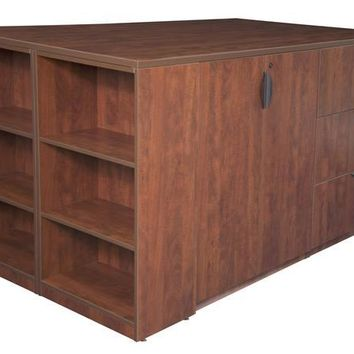 Legacy Stand Up Lateral File/ 3 Storage Cabinet Quad with Bookcase End- Cherry