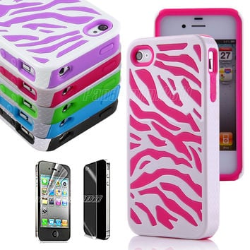 2-Piece Zebra Combo Hard Soft Case Cover For iPhone 4 4S Silicone Armor Case