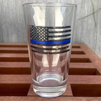 Thick Beer Glass with Thin Blue Line American Flag, Pint Glass, Deep Etched