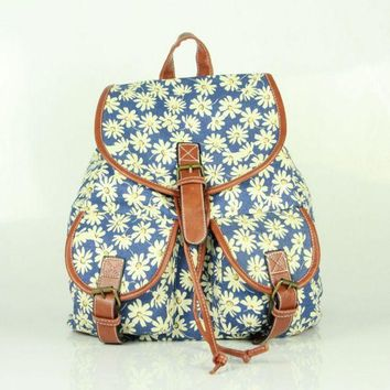 Day-First™ Daisy Flower Printed Cute Large Backpacks for College School Bag Canvas Daypack Travel Bag