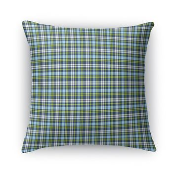 BOYS NAVY BLUE AND LIME PLAID Accent Pillow By Northern Whimsy