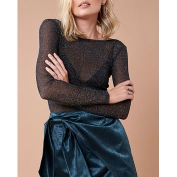 MINKPINK - in to the night metallic mesh top - black