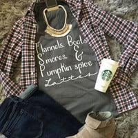 Halloween Flannels Boots S'mores Pumpkin Spice T-Shirt - Bellelily