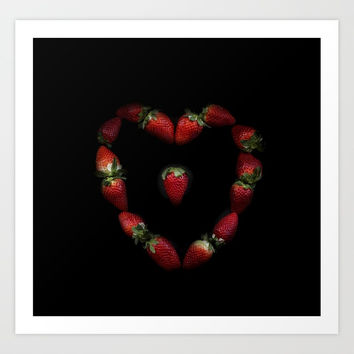 Heart of strawberries Art Print by vanessagf