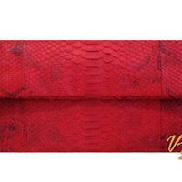 Genuine Python Snakeskin Leather Foldover Envelope Clutch Purse Bag, Womens Exotic Luxury Fashion Snake Skin Fold Over Clutch Bag Red Motif