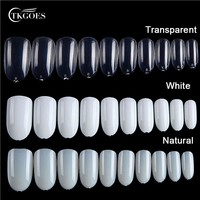 TKGOES 600PCS/Pack Clear/White/Natual Acrylic Nails Tips Round Oval Full Cover False Nail Tips French Nail Art Tips Fake Nails