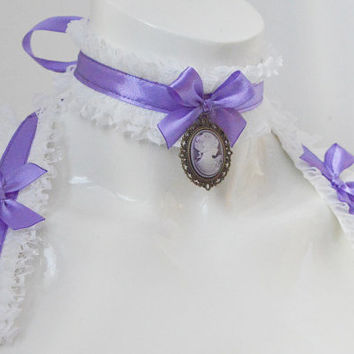 Kitten play collar and cuffs - Hidden dream - ddlg cgl princess cute neko sweet kawaii lolita costume - white and lilac choker set