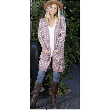 Mocha Rose striped Cardigan